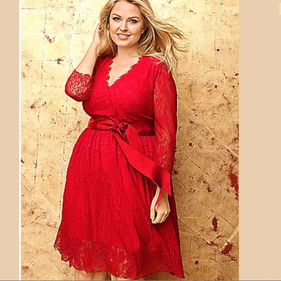 d2b3cacffcc Lane Bryant Dresses   Skirts - Lane Bryant Red Lace Ribbon Dress
